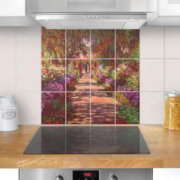 Fliesenbild - Claude Monet - Weg in Monets Garten in Giverny - Fliesensticker Set quadratisch