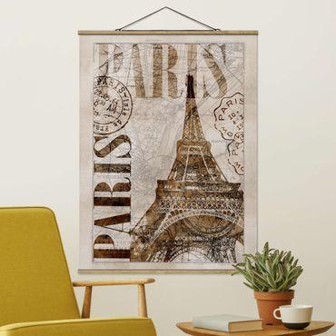 Stoffbild mit Posterleisten - Shabby Chic Collage - Paris - Hochformat 4:3