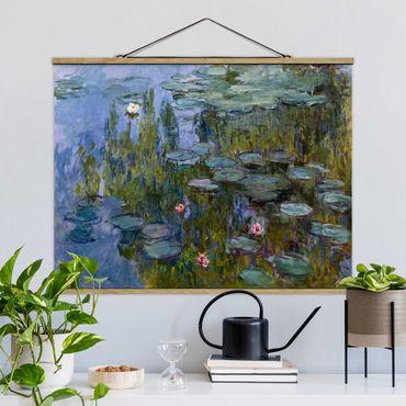 Stoffbild mit Posterleisten - Claude Monet - Seerosen (Nympheas) - Querformat 4:3