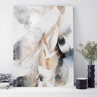 Glasbild - Goldene abstrakte Wintermalerei - Hochformat 4:3