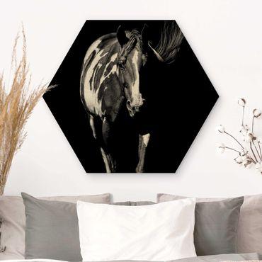 Hexagon Bild Holz - Pferd vor Schwarz