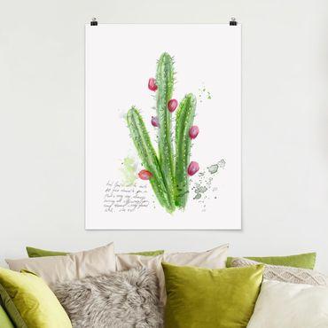 Poster - Kaktus mit Bibellvers II - Hochformat 3:4