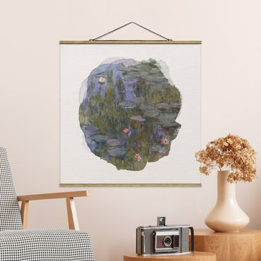 Stoffbild mit Posterleisten - Wasserfarben - Claude Monet - Seerosen (Nympheas) - Quadrat 1:1