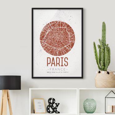 Bild mit Rahmen - Stadtplan Paris - Retro - Hochformat 3:4