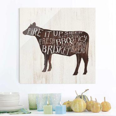 Glasbild - Bauernhof BBQ - Kuh - Quadrat 1:1