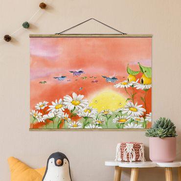 Stoffbild mit Posterleisten - Die Zauberponys fliegen davon - Querformat 3:4