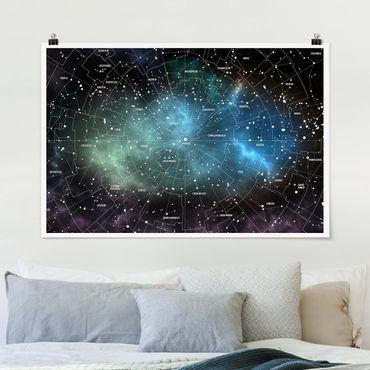 Poster - Sternbilder Karte Galaxienebel - Querformat 2:3