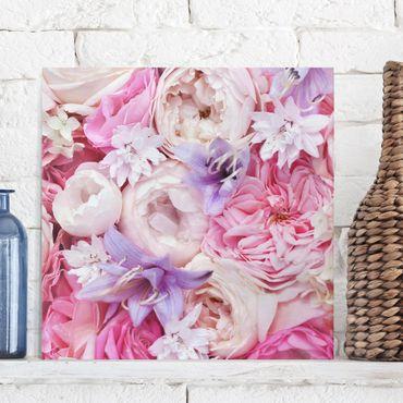 Leinwandbild - Shabby Rosen mit Glockenblumen - Quadrat 1:1