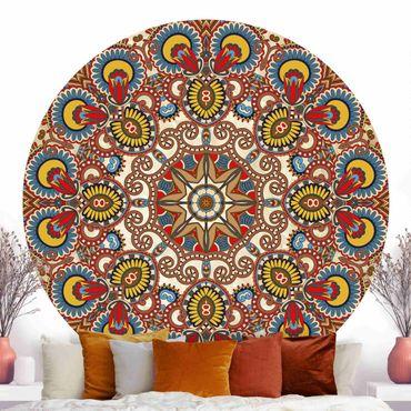 Runde Tapete selbstklebend - Farbiges Mandala