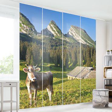 Schiebegardinen Set - Schweizer Almwiese mit Kuh - Flächenvorhänge