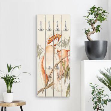 Wandgarderobe Holz - Vintage Illustration Rosa Kakadu - Haken chrom Hochformat
