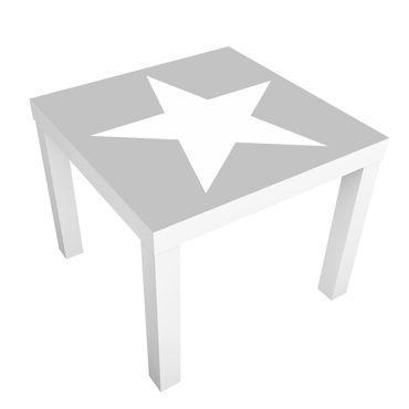 Möbelfolie für IKEA Lack - Klebefolie Große weiße Sterne auf grau