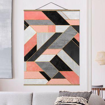 Stoffbild mit Posterleisten - Elisabeth Fredriksson - Geometrie Rosa und Gold - Hochformat 4:3