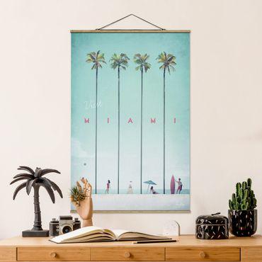 Stoffbild mit Posterleisten - Reiseposter - Miami - Hochformat 2:3