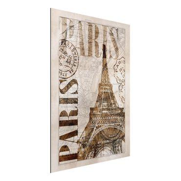 Aluminium Print gebürstet - Shabby Chic Collage - Paris - Hochformat 4:3