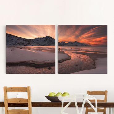 Leinwandbild 2-teilig - Goldener Sonnenuntergang - Quadrate 1:1