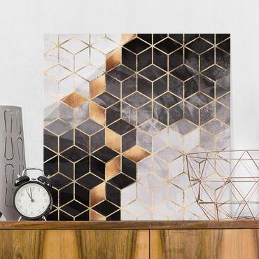 Glasbild - Schwarz Weiß goldene Geometrie - Quadrat 1:1