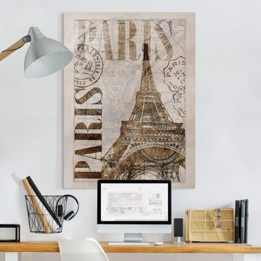 Leinwandbild - Shabby Chic Collage - Paris - Hochformat 4:3