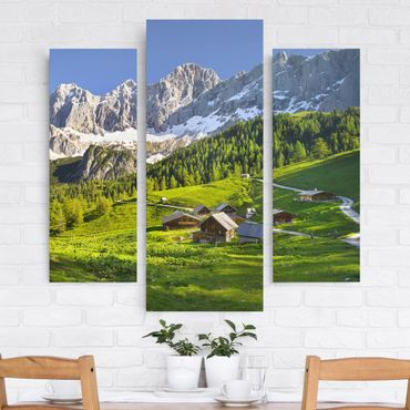 Leinwandbild 3-teilig - Steiermark Almwiese - Galerie Triptychon