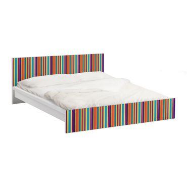 Möbelfolie für IKEA Malm Bett niedrig 160x200cm - Klebefolie Happy Stripes