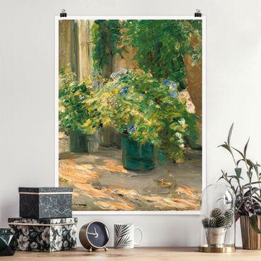 Poster - Max Liebermann - Blumentöpfe vor dem Haus - Hochformat 3:4