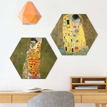 Hexagon Bild Alu-Dibond 2-teilig - Gustav Klimt - Kuss und Hoffnung