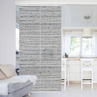 Schiebegardinen Set - Holzwand mit schmalen Leisten schwarz weiß - Flächenvorhänge