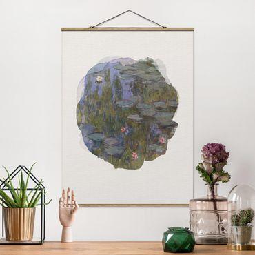 Stoffbild mit Posterleisten - Wasserfarben - Claude Monet - Seerosen (Nympheas) - Hochformat 3:4