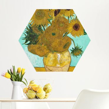 Hexagon Bild Alu-Dibond - Vincent van Gogh - Vase mit Sonnenblumen