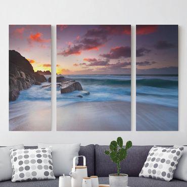 Leinwandbild 3-teilig - Am Meer in Cornwall - Triptychon