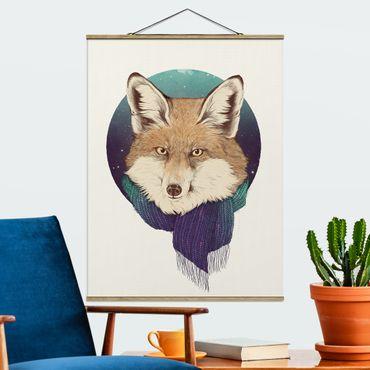 Stoffbild mit Posterleisten - Laura Graves - Illustration Fuchs Mond Lila Türkis - Hochformat 4:3
