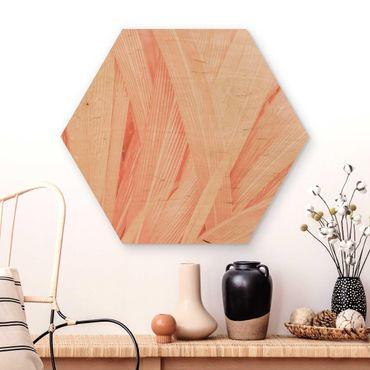 Hexagon Bild Holz - Palmenblätter Rosa