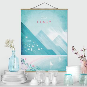 Stoffbild mit Posterleisten - Reiseposter - Italien - Hochformat 4:3