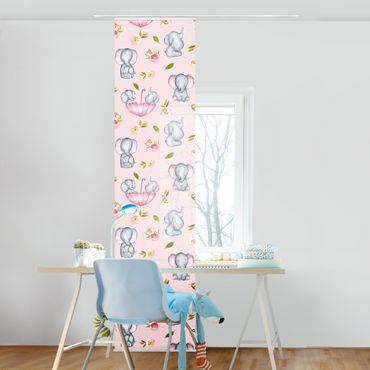Schiebegardinen Set - Elefanten mit Blumen vor Rosa - 6 Flächenvorhänge