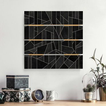 Holzbild - Elisabeth Fredriksson - Schwarz Weiß Geometrie Aquarell - Quadrat 1:1