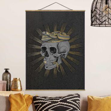 Stoffbild mit Posterleisten - Laura Graves - Illustration Totenkopf und Schlange Schwarz Gold - Hochformat 4:3