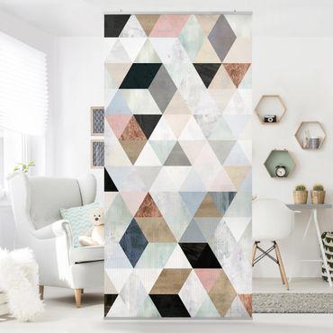 Raumteiler - Aquarell-Mosaik mit Dreiecken I - 250x120cm