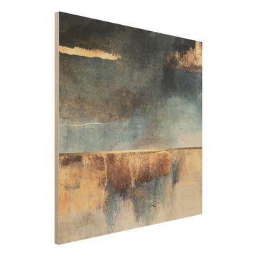 Holzbild - Abstraktes Seeufer in Gold - Quadrat 1:1