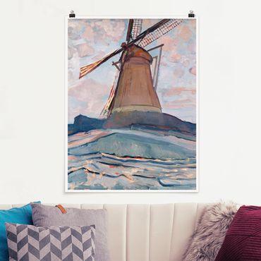 Poster - Piet Mondrian - Windmühle - Hochformat 3:4