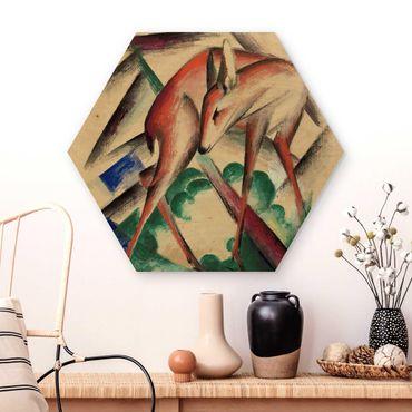 Hexagon Bild Holz - Franz Marc - Reh