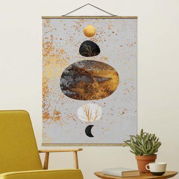 Stoffbild mit Posterleisten - Elisabeth Fredriksson - Sonne und Mond in Goldglanz - Hochformat 4:3