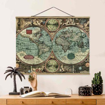 Stoffbild mit Posterleisten - Die alte Welt - Querformat 4:3