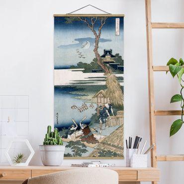 Stoffbild mit Posterleisten - Katsushika Hokusai - Bauernfamilie schlägt Wäsche - Hochformat 2:1