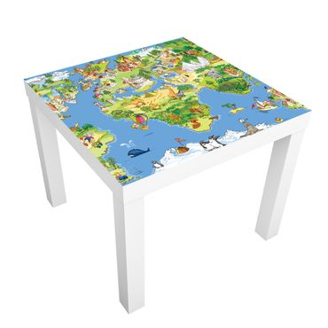 Möbelfolie für IKEA Lack - Klebefolie Great And Funny Worldmap