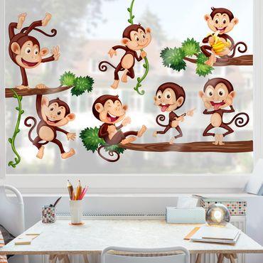 Fensterfolie - Fenstersticker - Affenfamilie