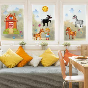 Fensterfolie - Fenstersticker - Bauernhof-Set mit Pferden