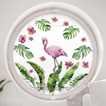 Fensterfolie Fenstersticker - Dschungel Flamingo Blätter Set