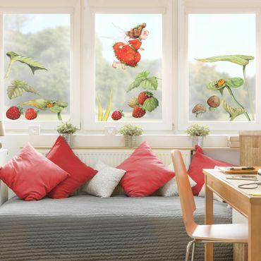 Fensterfolie Fenstersticker - Erdbeerinchen Erdbeerfee - Blätter und Erdbeeren