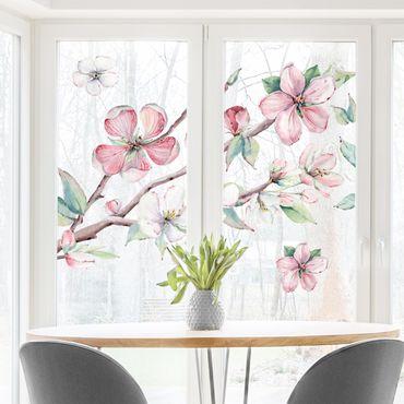 Fensterfolie Fenstersticker - Kirschblütenzweig Aquarell