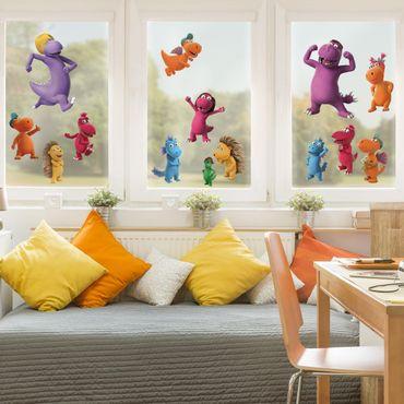 Fensterfolie Fenstersticker - Kleiner Drache Kokosnuss - Bunte Freunde